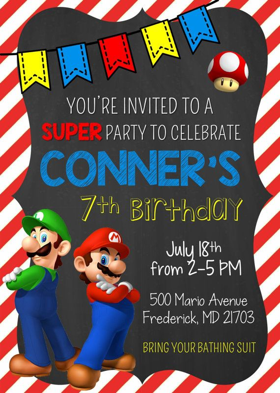 Super Mario Bros Birthday Invitation Mario and Luigi Digital