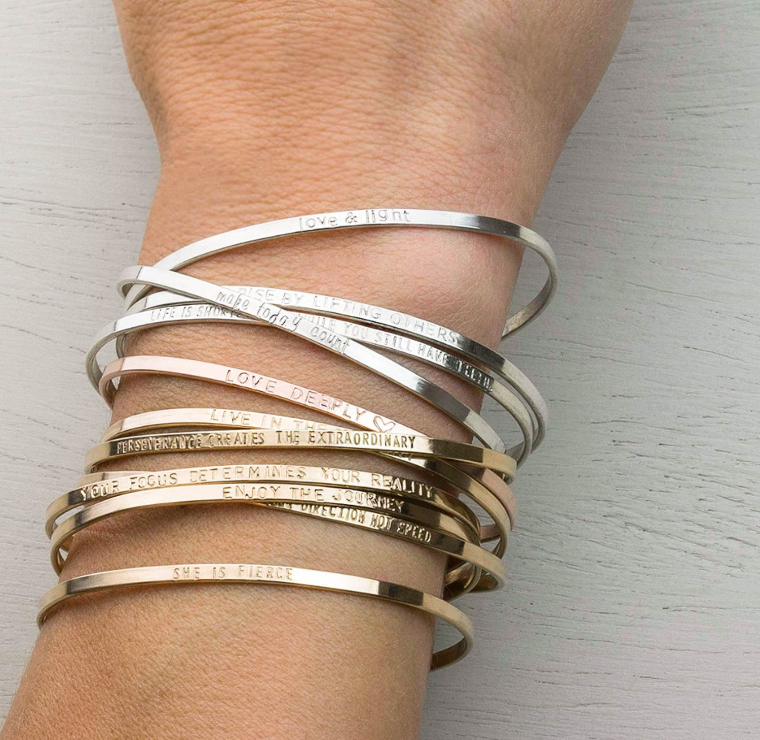 personalized alone custom or inspirational minimal be this inscribed beautiful as stacking elegant words with cuff a bracelet is can dainty and own your inspiration pin