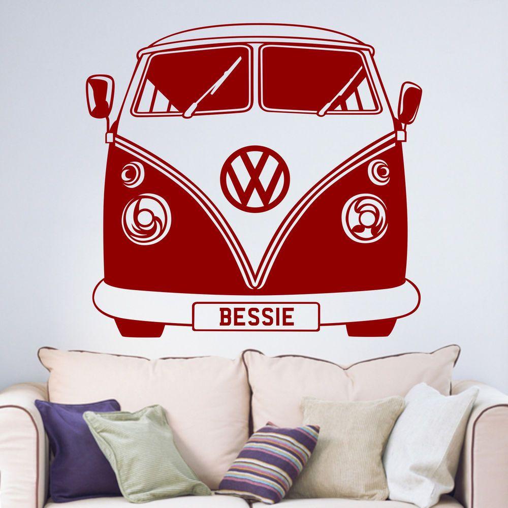 Personalised Vw Camper Van Living Room Bedroom Vinyl Wall Art Sticker Decal