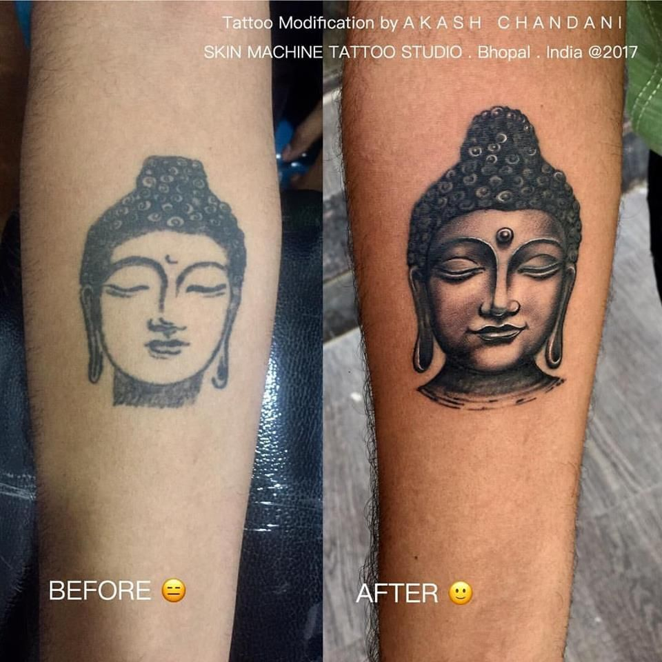 Freestyle Modifications Of This Old So Called Buddha I M A Buddha Lover So I Tried With My Style Of Tattooing To Make Thi Tattoo Styles Tattoo Fixers Tattoos