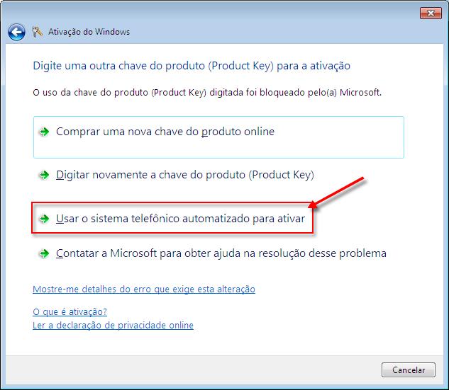 Obter ajuda para ativação do Microsoft Windows