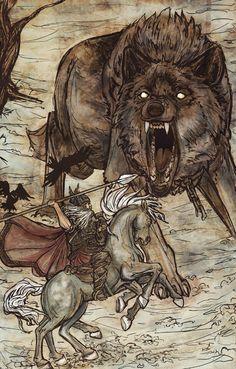 Odin e Fenrir por ~ Dreoilin no deviantART. Fenrir é o pai de lobos e um filho de Loki na mitologia nórdica. Ele foi predito para matar Odin durante Ragnarok, e por sua vez ser morta pelo filho de Odin Vidarr. Ele também foi dito ter mordido a mão direita do deus Týr.