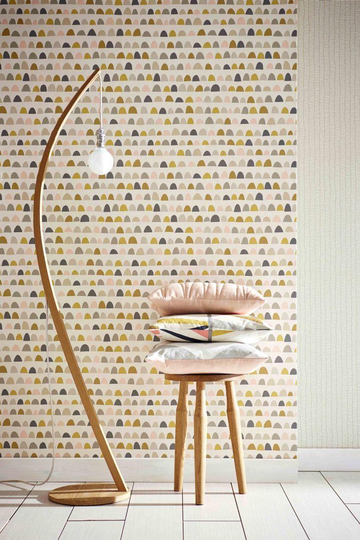 Priya by Scion Blush, Honey and Linen Wallpaper