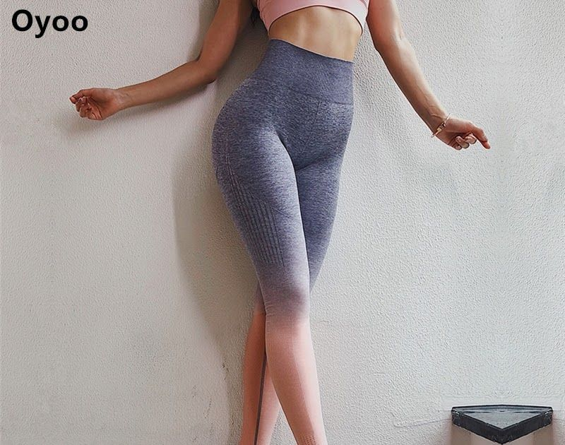 e65c1466c01c2 Best Price Oyoo Women's High Waist Pink Yoga Pants Tummy Control Workout  Running 4 Way Stretch Sport Leggings Ombre Seamless Gym Leggings