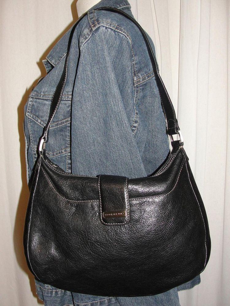 Bandolino Black Med Leather Shoulder Hobo Tote Satchel Purse Sch Trim Handbag Shoulderbag