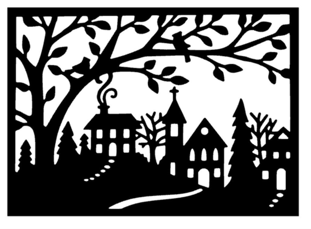 Christmas House Street Scene Snow Xmas Silhouette Die Cuts Black
