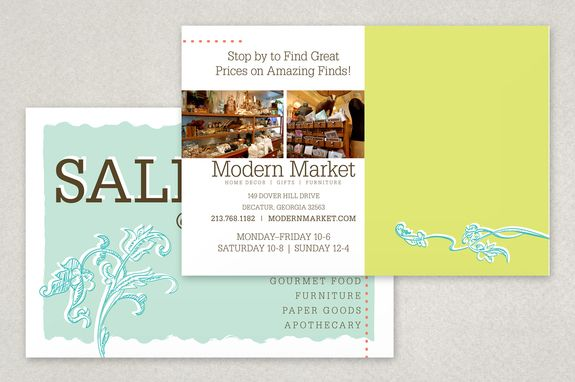 Modern Market Antique Shop Postcard Template  Contemporary