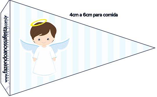 Bandeirinha Sanduiche 3 Batizado Azul Claro Kit Festa ba4301eba7b