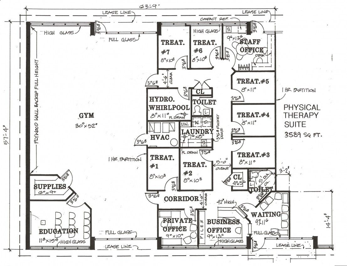 Physiotherapy associates inc lease space design for Physical therapy office layout