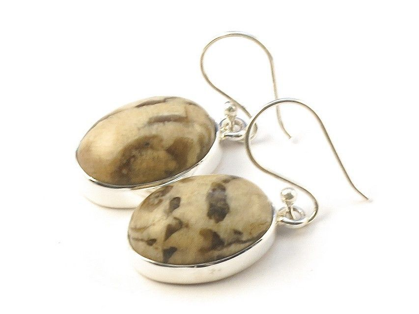 """Design 113369 Jewelry Shop Oval Jasper .925 Sterling Silver Jewelry Earrings 1 1/2"""""""