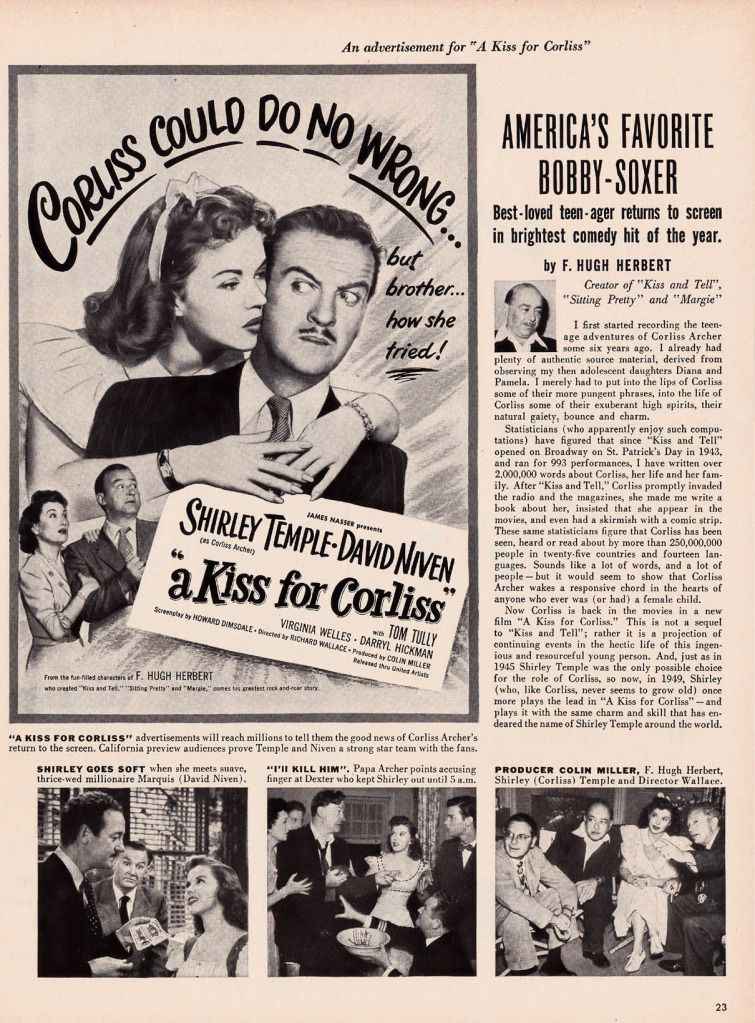 1949 A Kiss For Corliss Ad Shirley Temple David Niven Temple