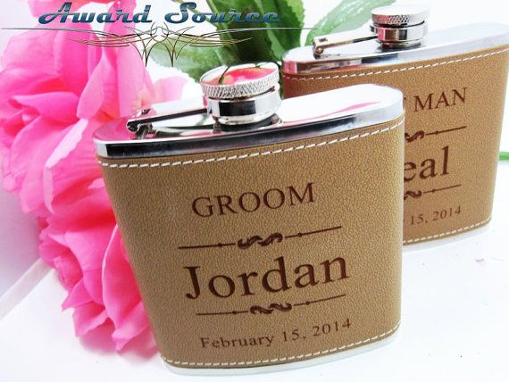 Will You Be My Groomsman Best Man Flask Gift Groomsmen Rustic Wedding Officiant Idea Usher Set Of 9 Leather