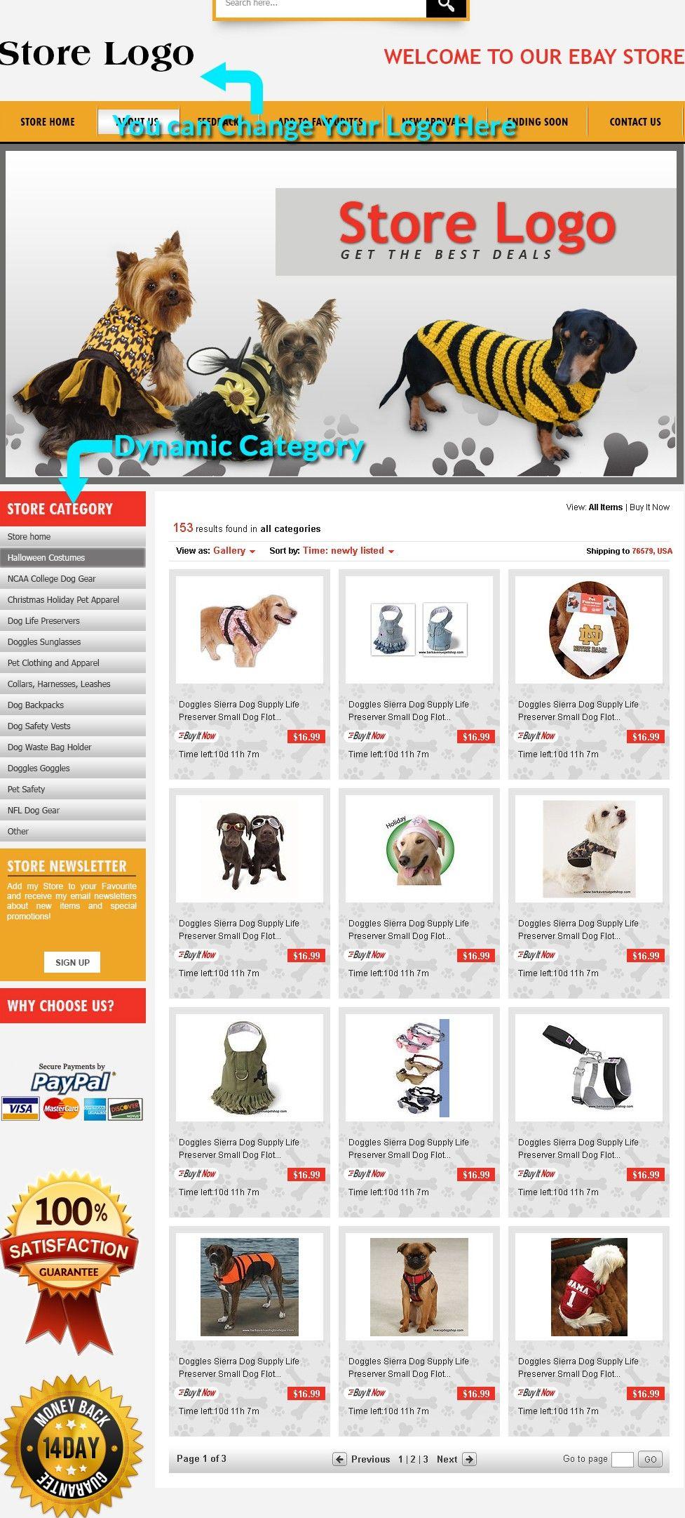 Cute Dog Theme eBay Shop Templates Responsive Store Design