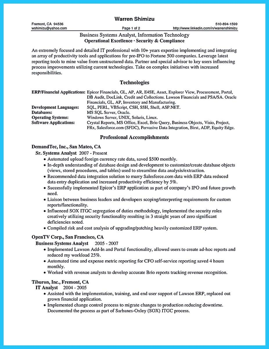 awesome Create Your Astonishing Business Analyst Resume and Gain the ...