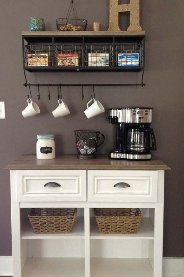 أجمل 20 تصميم لـ ركن القهوة كوفي كورنر وكوفي بار منزلي هذا العام ديكورات أرابيا Home Bar Decor Coffee Bar Home Home Coffee Stations