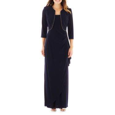 R&M Richards Ity Rhinestone Long Dress with Jacket - JCPenney ...