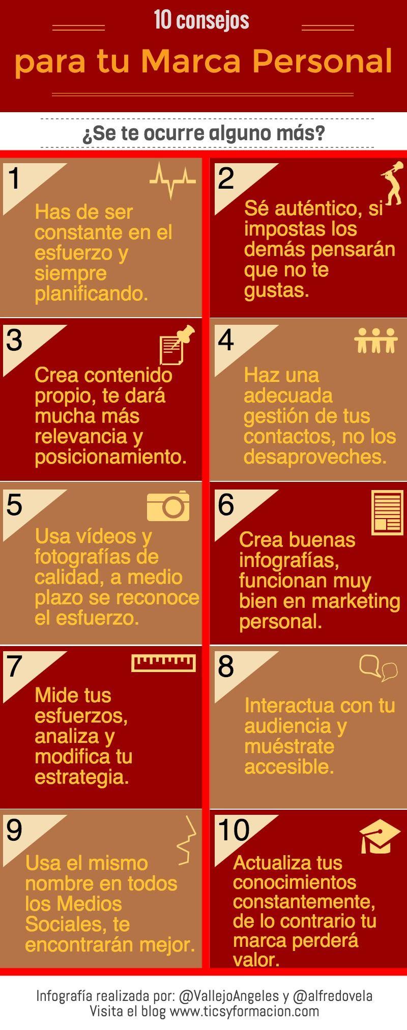 10 consejos para tu Marca Personal. #infografia