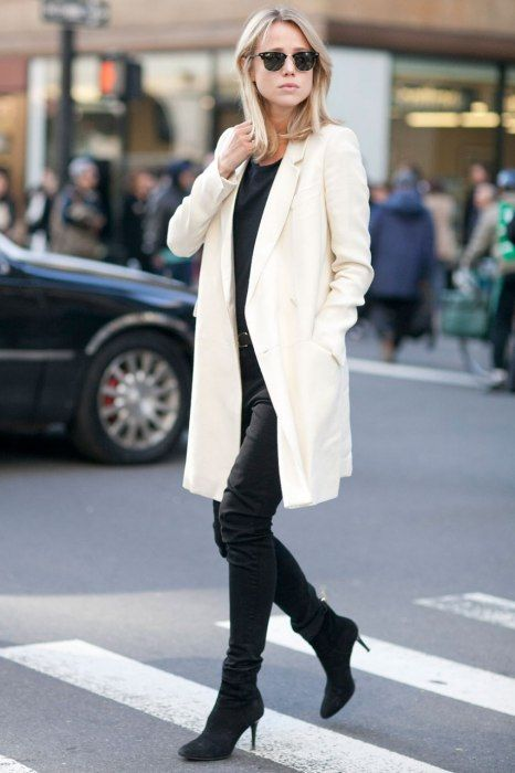 All black with white coat. Best-Dressed Street Style at New York Fashion Week Fall 2013 | Vanity Fair
