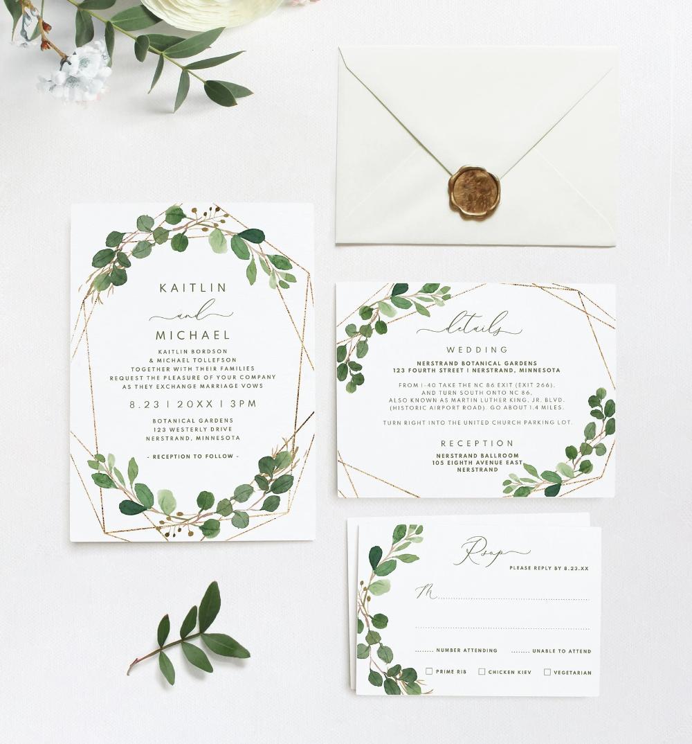 Wedding Invitation Template Suite Set  5 x 5  Geometric