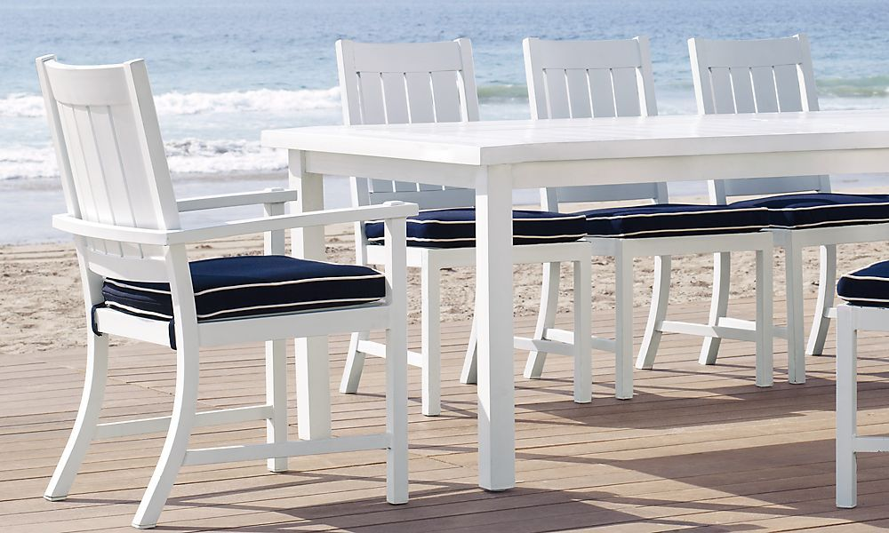 Rh S Cape Cod Rectangular Dining Table Recalling The Streamlined Design Of Mid Century American Outdoor Furniture Our Collection Is Crafted From Durable