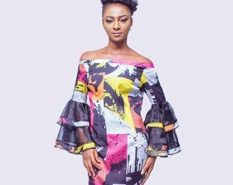 African Print Off the Shoulder Dress, African Dress, African Clothing for Women, Ankara Dress, African Womens Clothing, African Women Dress