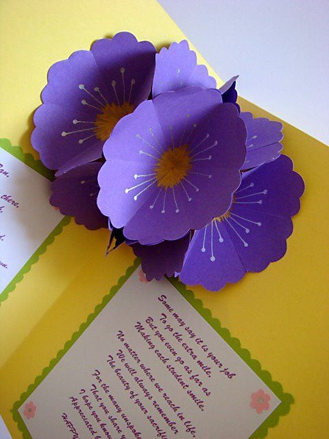 Teacher S Day Pop Up Flowers With Images Pop Up Flower Cards