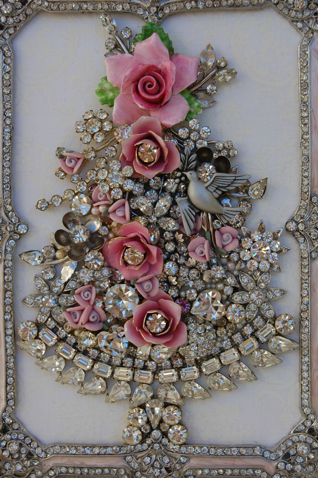 Vintage Jewelry Framed Christmas Tree Pink Roses Clear
