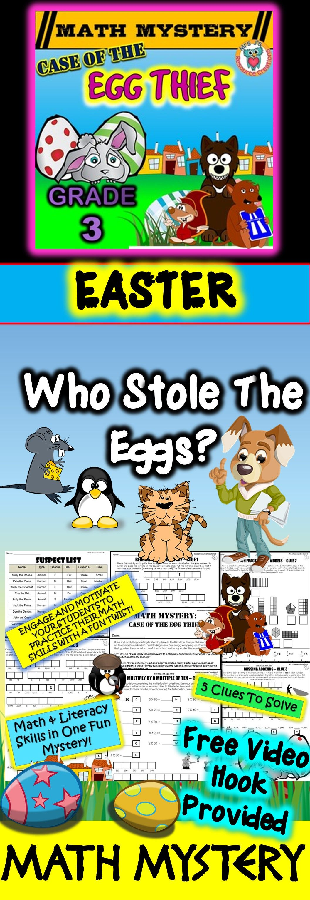 Easter Activity Easter Math Mystery Case of The Egg