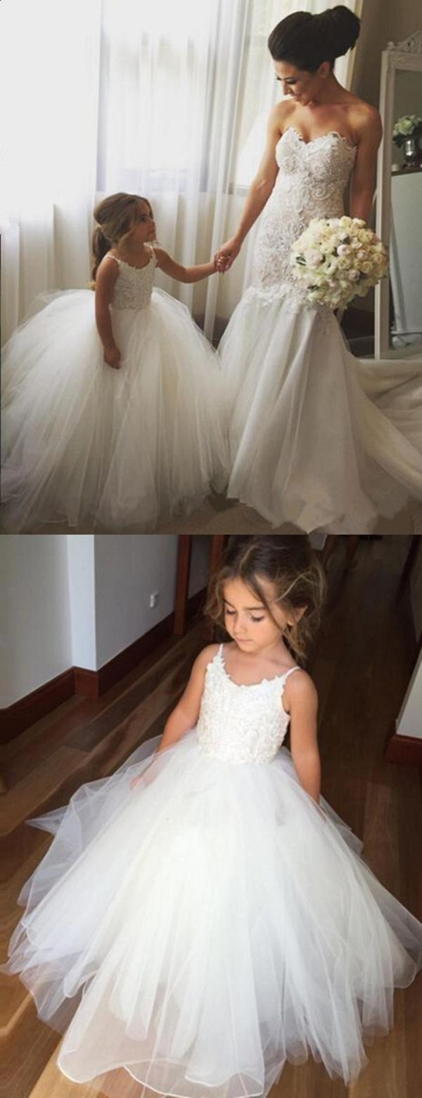 Girls wedding dress  Ball Gown Spaghetti Straps Ivory Tulle Flower Girl Dress with