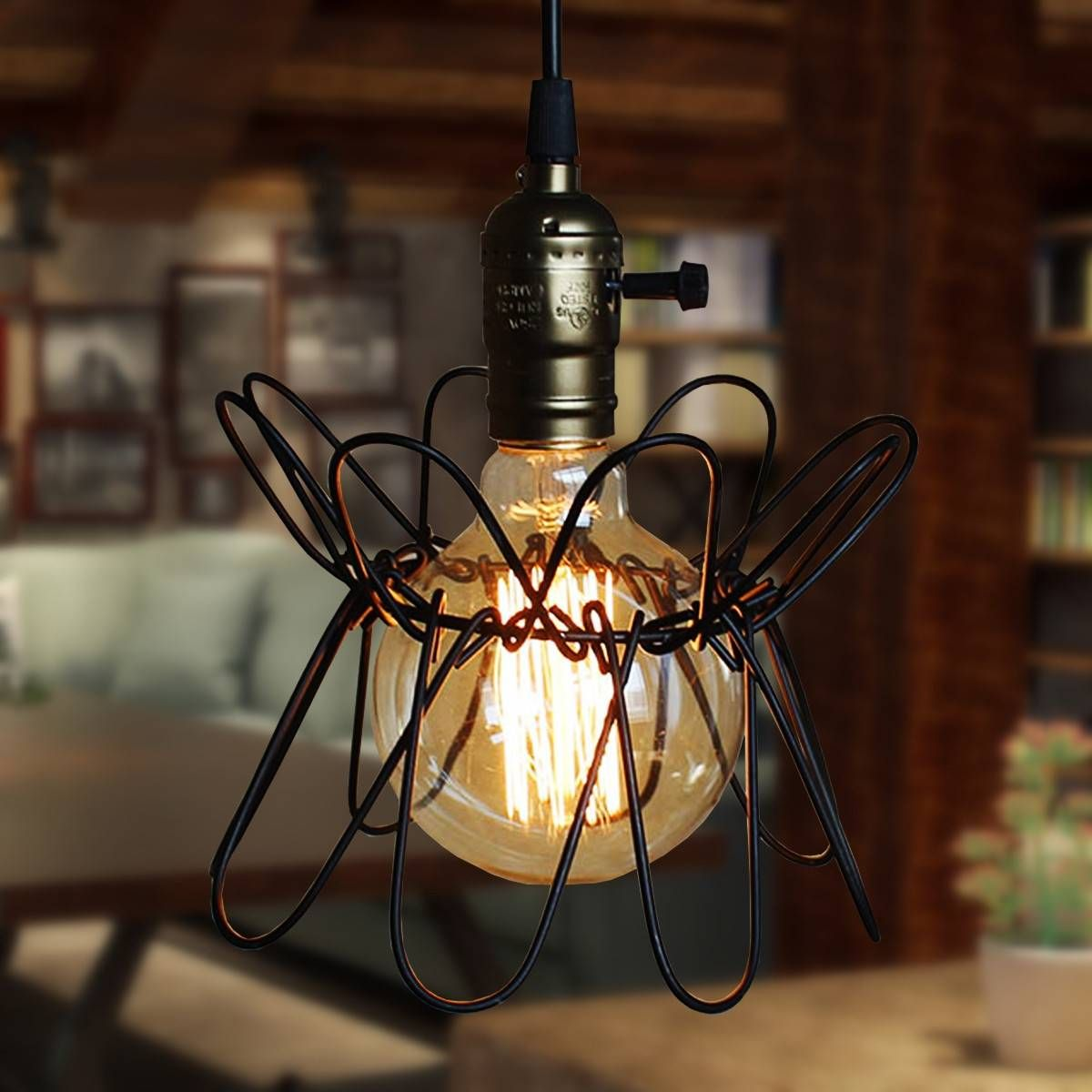 1pcs iron wire cage lampshade chandelier bird retro black bar coffee 1pcs iron wire cage lampshade chandelier bird retro black bar coffee home hanging ornament decor greentooth Image collections