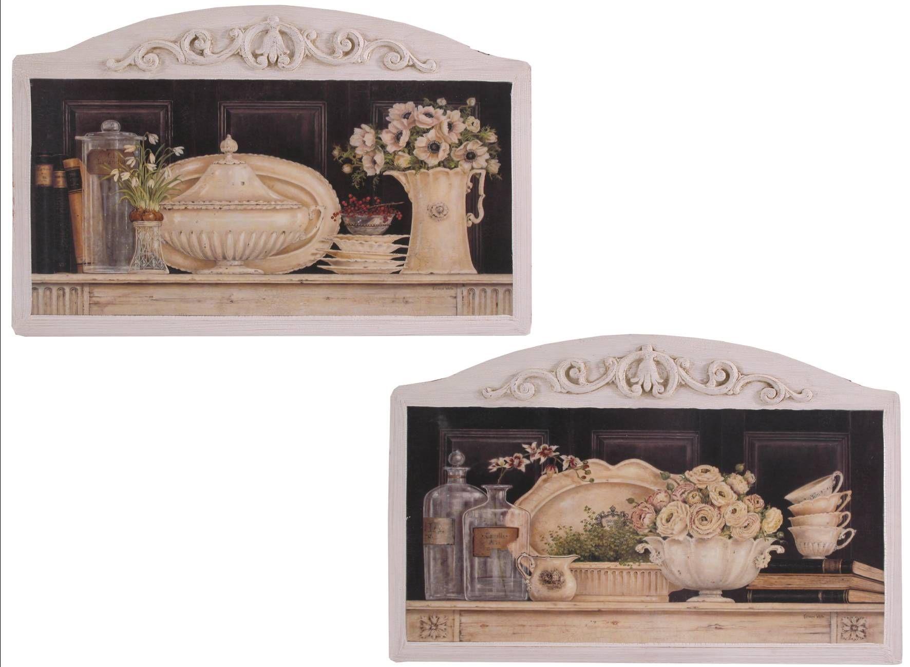 Quadri Classici Per Arredamento i quadri in legno di colore avorio con decorazioni si
