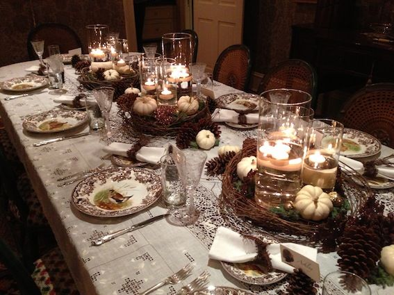 Rustic Elegant Thanksgiving Tablescape Pine Cones White Pumpkins