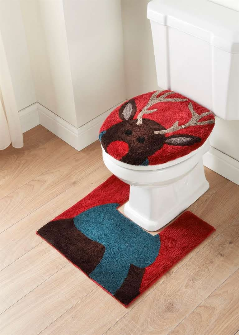 Toilet 2 Piece Christmas Seat Cover