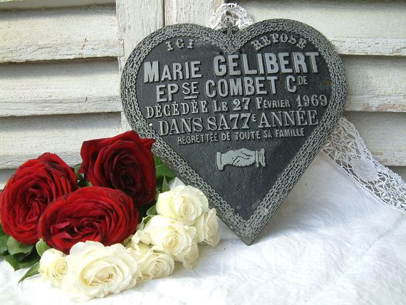 French vintage funerary plaque. Cast iron ornate by Chanteduc