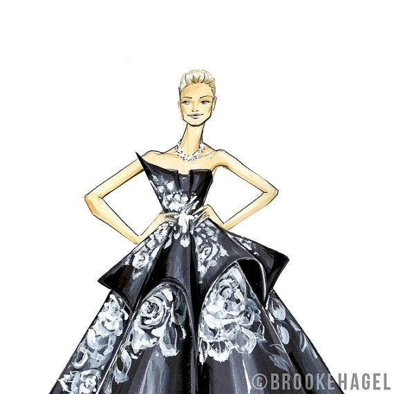 Karolina Kurkova Marchesa Fashion Illustration by brook lit, Brooke Hagel. Available on Etsy