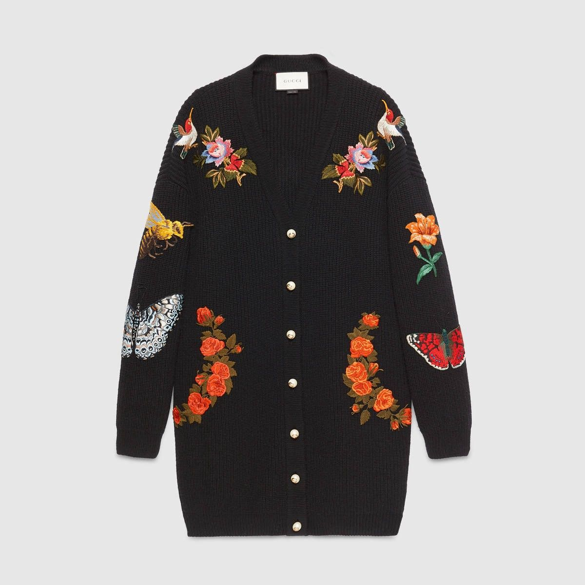 GUCCI Oversize embroidered wool cardigan - black wool. #gucci #cloth #