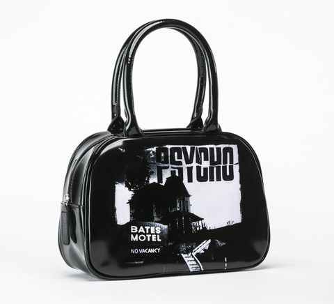 """Officially Licensed by Universal Pictures, the classic Horror Film by Alfred Hitchcock picturing the """"Bates Motel"""" on a Handbag for Rock Rebel. Made of vegan black vinyl, this bag contains an inner zi"""