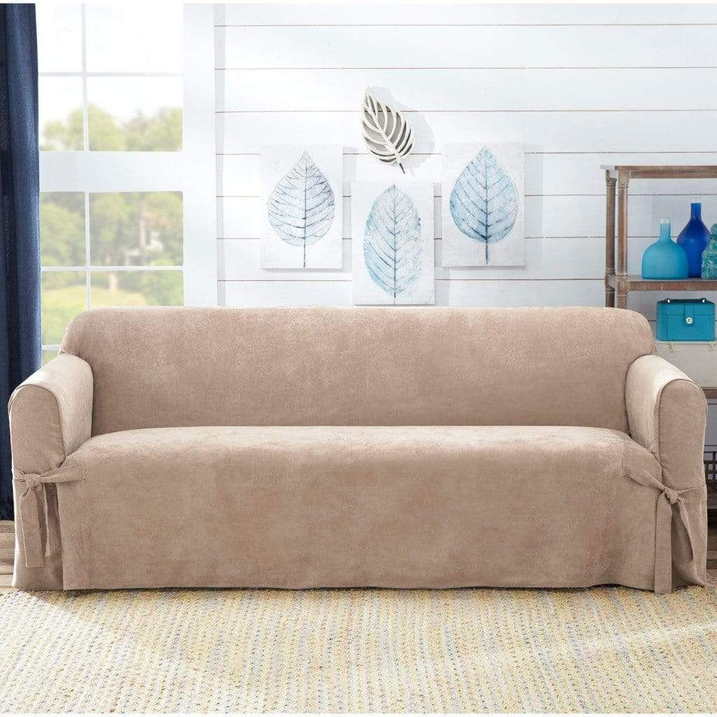 Sueded Twill Sofa Slipcover Relaxed Fit 100 Polyester