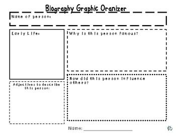 image relating to Biography Graphic Organizer Printable referred to as Biography Picture Organizer (developing point of crafting