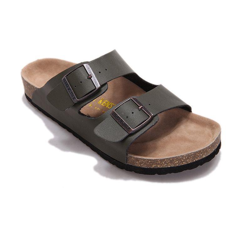 4b97712969e Birkenstock Arizona Unisex Fashion Leather Sandals (Olive Green) in ...