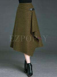 Vintage Pure Color Asymmetrical A-line Skirt