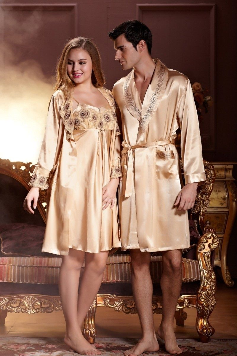 satin robes for tall women | His And Hers Silk Pajamas | Footie ...