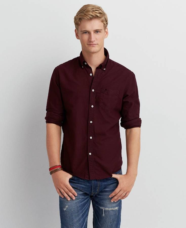 American Eagle Solid Oxford Button Down Shirt, Men's, Maroon ...
