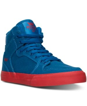 Supra Little Boys' Vaider Casual Skate High Top Sneakers from Finish Line - BLUE/RED 2