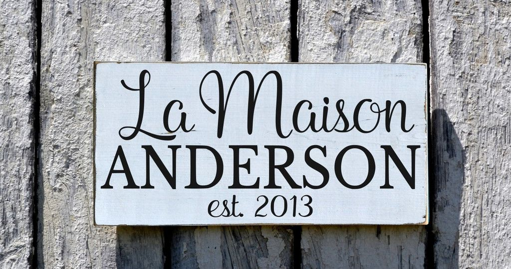 Personalized Family Name Sign Custom Wood Plaque French Cottage Chic Kitchen Decor Farmhouse Established Date Last Name Gift Rustic Modern