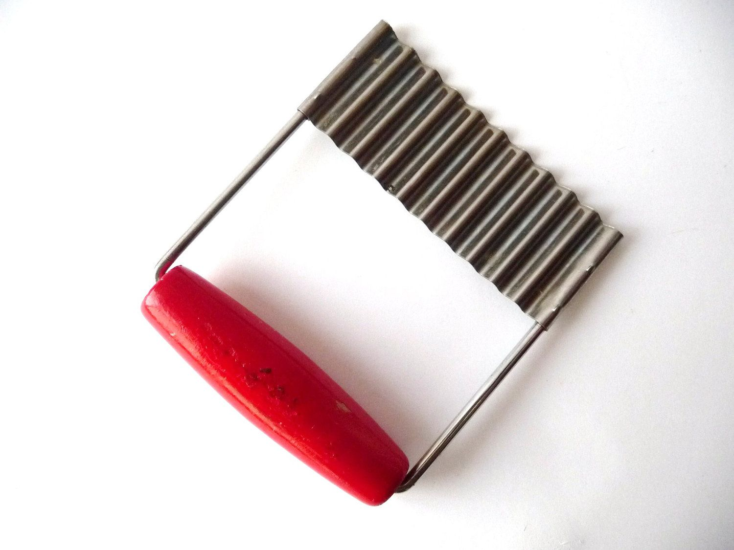 Vintage Silver Metal Cutter Slicer with Red Wood Handle - French Fries
