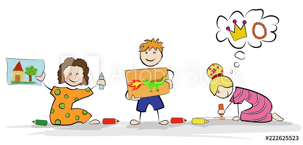 Zwei Mädchen und ein Junge malen mit Buntstiften Bilder