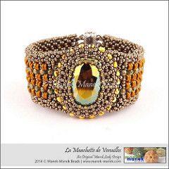 La Manchette de Versailles (The Manek Lady) Tags: beads crystal bracelet swarovski cuff beadwork firepolish beadweaving obeads maneklady