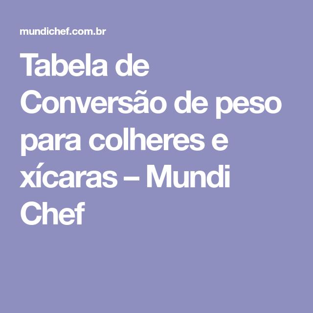 Tabela De Conversão Peso Para Colheres E Xícaras Mundi Chef