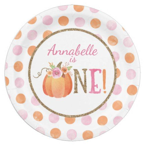 Pumpkin Fall First Birthday Party Paper Plates  sc 1 st  Pinterest & Pumpkin Fall First Birthday Party Paper Plates | Birthdays and ...